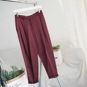 Berry red loose tapered dress pants H&M
